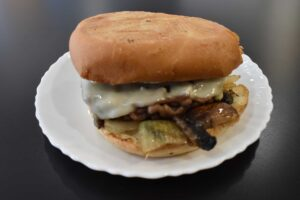 Burger with Swiss at Davenport Catering